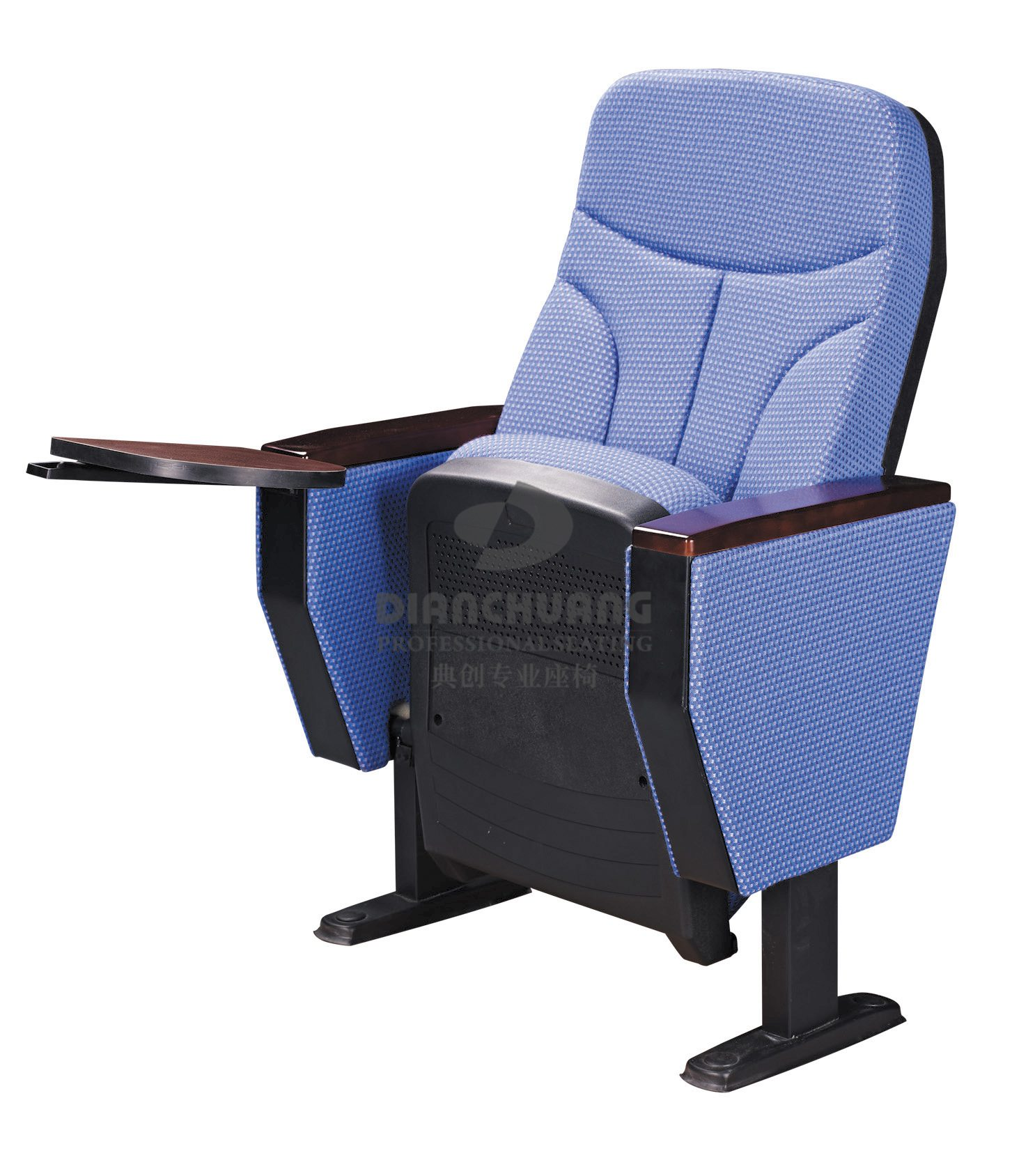 蓝色带写字板款礼堂座椅-DC4043