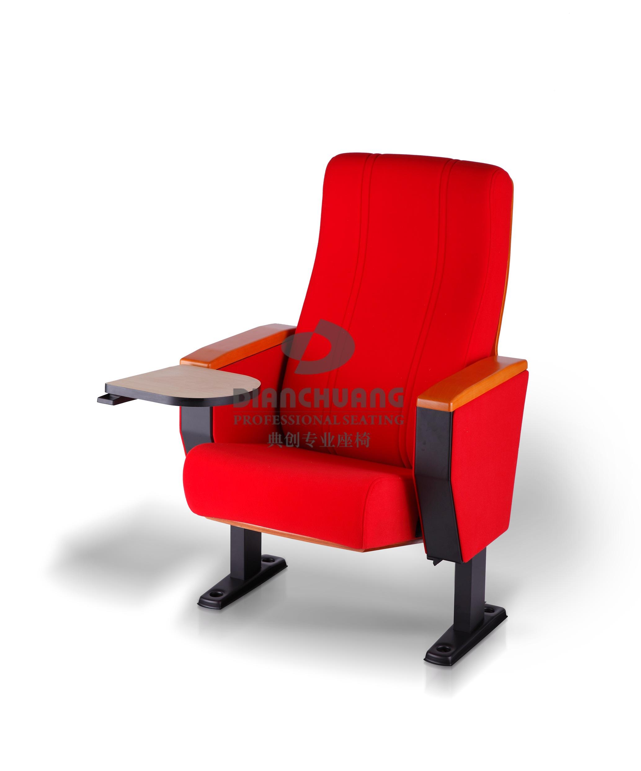 红款阻燃面料带写字板礼堂椅子-5041