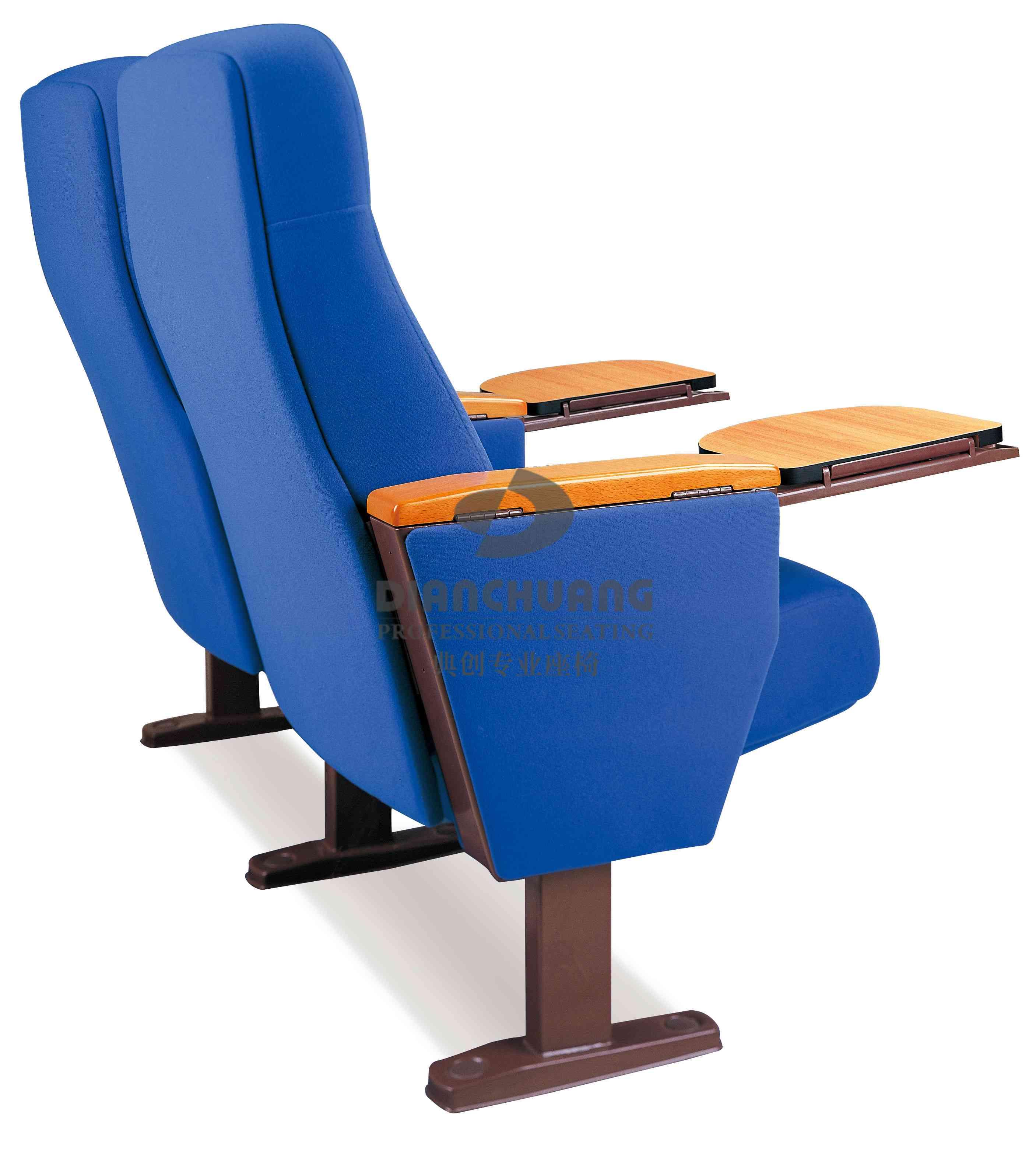深蓝色双排带写字板礼堂座位椅-5043R